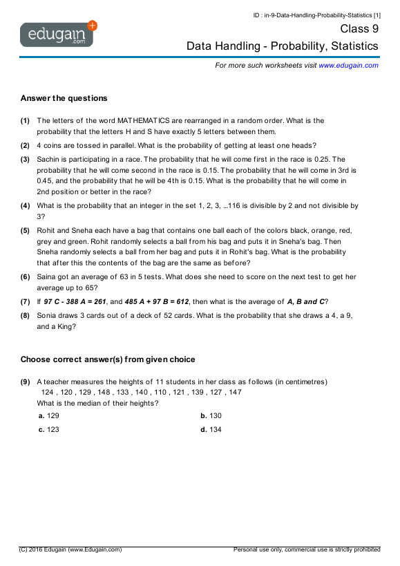 Grade 9 Math Worksheets and Problems Data Handling Probability – Probability Worksheets Pdf
